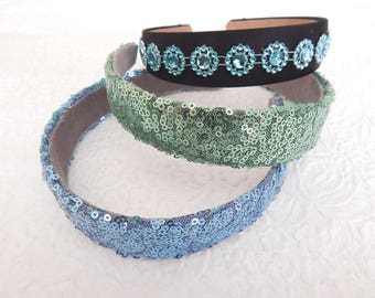 Blue green sequin  and  dot headbands, headbands for women, 1 inch headbands, multiples available