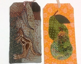 STITCHED ART TAGS x2