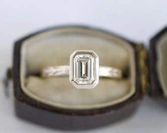 Emerald Cut Solitaire in White Gold | 7x5mm Moissanite Engagement Ring | Forever One Moissanite Engagement Ring | Ethical Engagement Ring