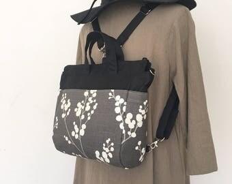 4 WAYS bag / Tote / Cross Body / Shoulder / Backpack - Evelynne Slub Graphite