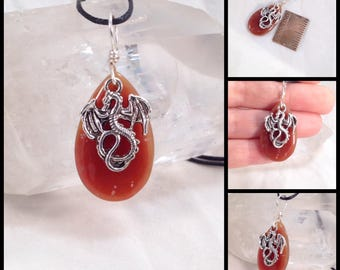 A fun little Carnelian drop with a dragon charm, simple necklace, dangle, charm