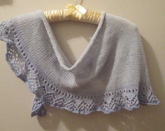 Gradient Blues Hand-knitted Lace-edged Scarf