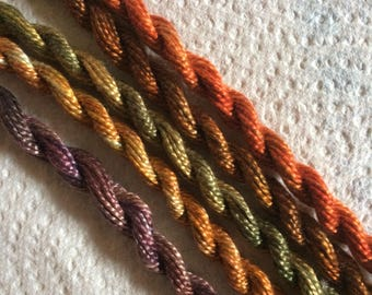 Hand dyed cotton perle threads, Mini collection of 5 skeins