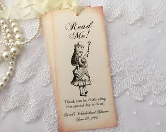 Alice in Wonderland Bridal Shower Bookmarks Read Me Favors, Alice Bookmarks, Set of 10