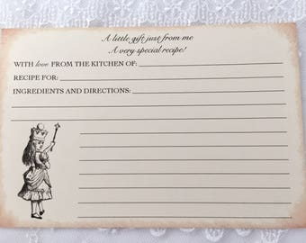 Alice in Wonderland Recipe Cards, Alice Recipe Cards, Set of 10