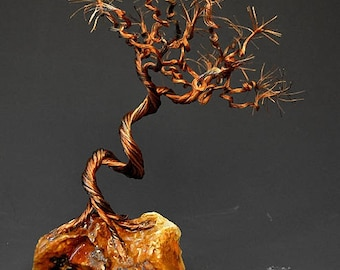 Hand Twisted Metal Copper Bonsai Wire Tree Art Sculpture  - 2281 - FREE SHIPPING