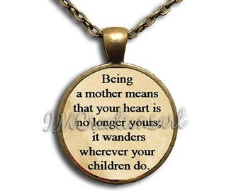 25% OFF - Being a mother... Glass Dome Pendant or with Chain Link Necklace WD141
