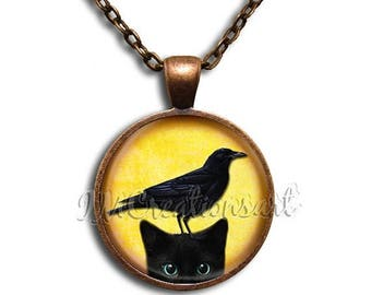 20% OFF - Black Cat Black Raven Crow Glass Dome Pendant or with Chain Link Necklace AN166