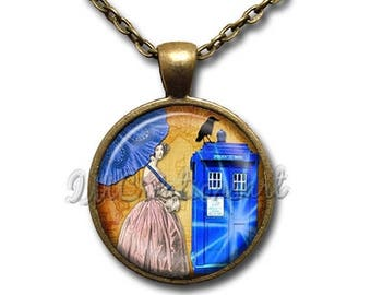 20% OFF - Dr. Who Tardis Glass Dome Pendant or with Chain Link Necklace FT137