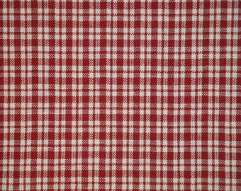 Homespun Material | Cotton Material | Primitive Material | Wine And White Small Plaid Material | Quilt Material | Home Decor Material