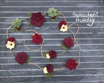 Wool Felt Succulent Holiday Garland - Christmas Garland - Christmas Reds - Wedding - Felt Garland - Home Decor - Felt Flower