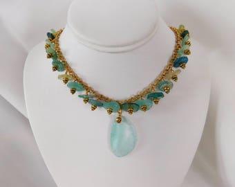 Aqua Necklace - Statement Necklace - Antique Glass Necklace - Gold Necklace