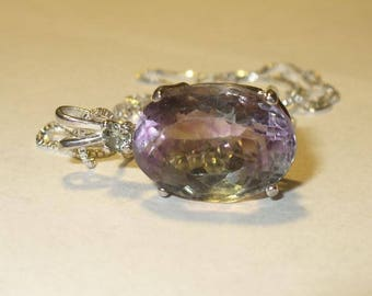Bi-Color Fluorite Pendant  ~ All-Natural Green & Purple Genuine Gemstones in Solid Sterling Silver, Sapphire Accent