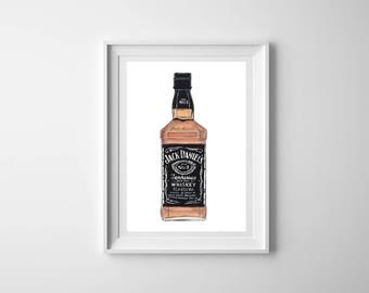 A5 Jack daniels  print - Watercolour illustration - Whiskey gift - Gift Whiskey lover - Tennessee whiskey - Gift for boyfriend - Gift Dad
