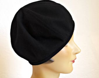 1930s Style Beret in Black Wool Crepe - Women's Beret - Beret Hat - Black Beret