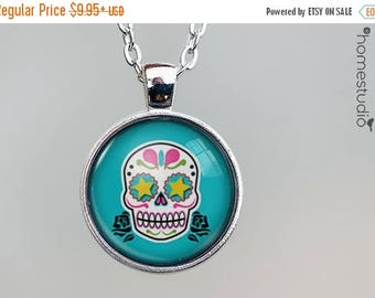 ON SALE - Sugar Skull (BLU) : Glass Dome Necklace, Pendant or Keychain Key Ring. Gift Present metal round art photo jewelry by HomeStudio