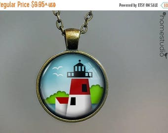 ON SALE - Lighthouse (GRN) : Glass Dome Necklace, Pendant or Keychain Key Ring. Gift Present metal round art photo jewelry by HomeStudio