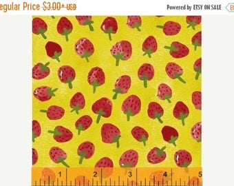 ON SALE Flower Pedals Chartreuse Strawberries by Carolyn Gavin for Windham Fabrics