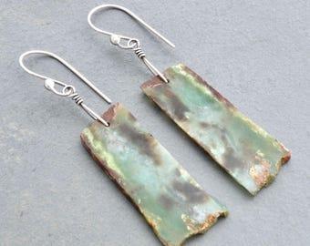 Rustic Chrysoprase Earrings, Green Dangle Earrings, Australian Bio Chrysoprase Gemstone Rectangles, Sterling Silver, Boho Earrings, #4824