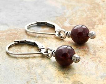 Red Birthstone Earrings - Lightweight Garnet Earrings - January Birthday - Red Gemstone - Sterling Silver Lever Back - Dangle Earring  #4814