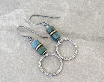 azurite earrings, silver drop earrings, boho drop earrings, blue earrings, rustic earrings, forged silver earrings, sterling ear wires