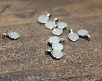 Teeny Tiny Sterling Silver Round Dangle Charms TEN