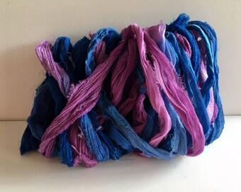 Silk Sari Ribbon-Recycled Blue & Lavender Sari Ribbon-10 Yards