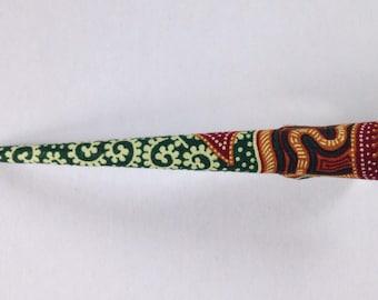 Large Hair Clip - Batik Fabric Covered, Hair Accessory, Asian Texitile, Green, Brown, Metal Concord Clip, Handmade, Beak Clip, Kawaii