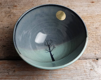 Gold Moon and Tree Cereal Bowl