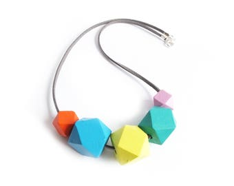 Geometric Necklace, Rainbow Necklace, Wooden Necklace, Hexagon Jewellery, Hexagon Necklace, Mothers Day Jewellery, Colour Pop, Spring Summer