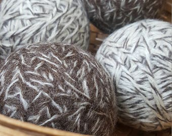 4, 100% wool dryer balls (2 brindle and 2 toasted almond)