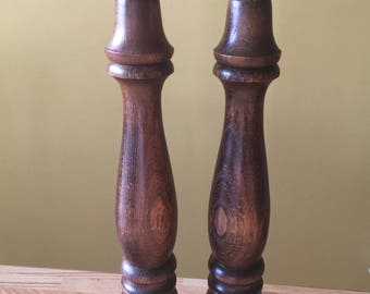 "Vintage Wooden Salt and Pepper Shakers 12"" tall"