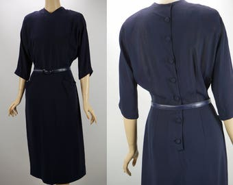 Vintage 1950s Dress Navy Blue Crepe Form Fitting by Leslie Fay B40 W28