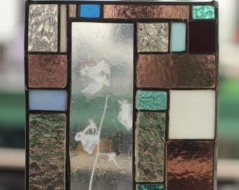 """Handmade 10"""" x 7.5"""" Stained Glass Panel with Preserved, Kiln-Fused Sweetpea Flower"""