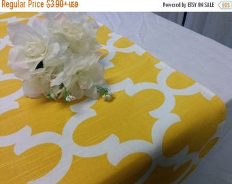 """ON SALE SAMPLE Sale Runner 23""""-36"""" Yellow and White Moroccan Look Table Runner Wedding Bridal Home Decor Chic Rpst"""