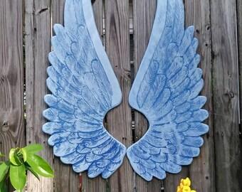 Wood Carved Detailed Angel Wings in Nikki OOAK Blue on Blue