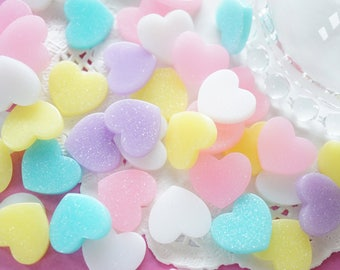 15 pcs Small Pastel Glitter Heart Cabochon (14mm12mm) Flat Top IK165