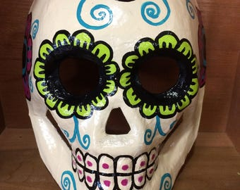 Day of the Dead paper mache sugar skull decor