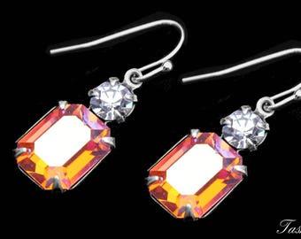 Swarovski Crystal Earrings, Vintage Art Deco Rhinestone Jewelry