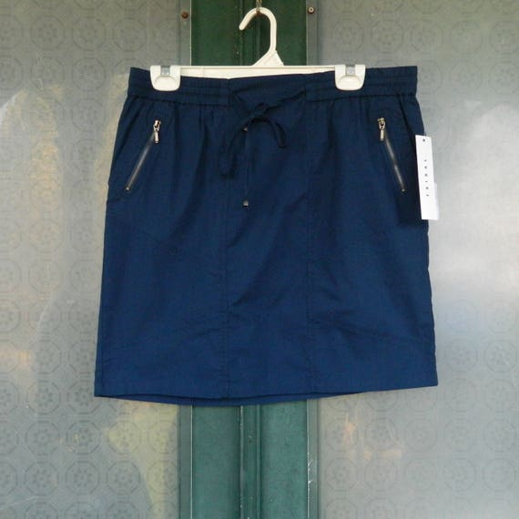 SALE 25% OFF Original Price - Tribal Short Sporty Skirt with Zip Pockets Navy Blue Cotton Spandex NWT