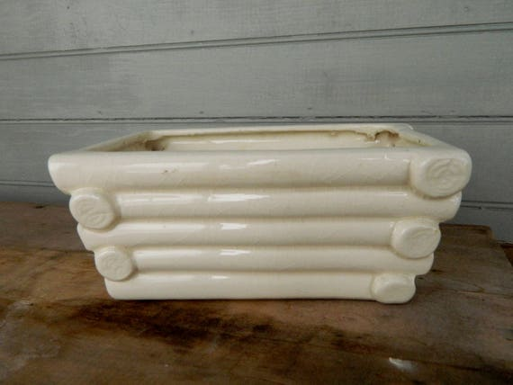 Vintage Pottery White Ceramic Log Cabin Planter with Horseshoe Mark Japan