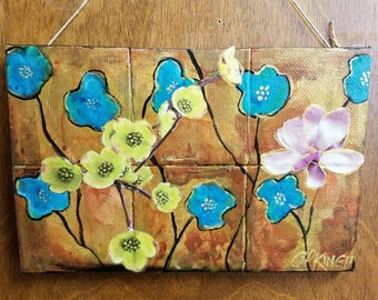 Flowers Paper and Acrylic mixed media original art painting wall hanging