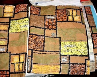 Lot 2 Vintage Bark Cloth Panels Brown Orange Yellow Block Print 17.5 by 64 inches