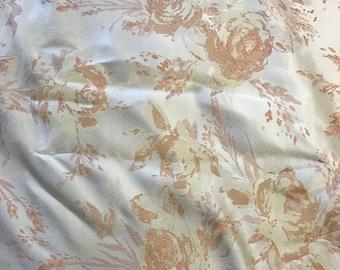 Peach & White Roses Floral - Faux Silk Brocade Fabric -  1/4 Yard