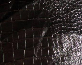 "Shiny Black Embossed GATOR Leather Hide #2 5x10"""