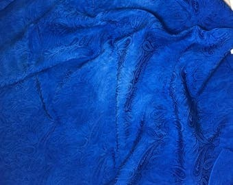 """Hand Dyed Sapphire Blue PAISLEY - Silk Jacquard Fabric - 9""""x22"""" remnant"""