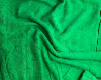 Bright Kelly Green - Hand Dyed Raw Silk Noil Squares Weave Fabric - 1 Yard