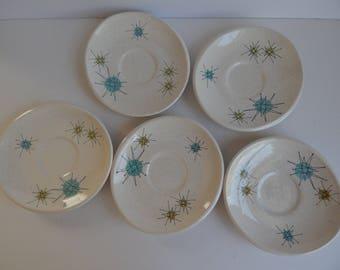 5 Fransiscan Starburst Pattern Saucers