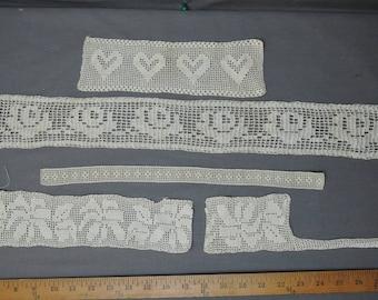 5 Antique Edwardian Lace Pieces, Vintage 1900s Handmade Crochet Trim