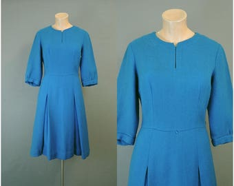 Vintage Blue Wool Dress, fits 37 inch bust, 1960s A-line Skirt